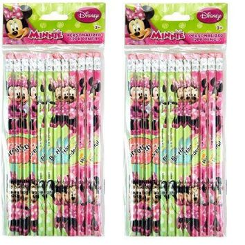 24 Pcs Disney Minnie Mouse Wood Pencils Birthday Party Favors Bag Fillers - 2 DZ