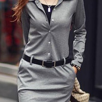 Solid Color Long Sleeve Casual Turn-Down Colllar  Dress