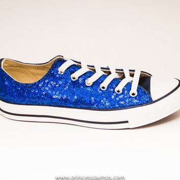 Sequin Brilliant Sapphire Blue Canvas All Star Lo Top Sneakers Shoes