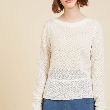 Sweetest Subtleties Long Sleeve Top in Blanc | Mod Retro Vintage Sweaters | ModCloth.com