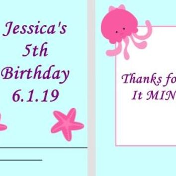 20 Mermaid and Friends Birthday Party Matchbook Mint Favors Brown Hair