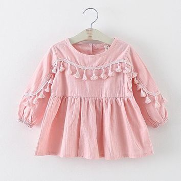 Retail Cute Kids Girl's Cotton Dress long sleeved tassel princess dresses baby clothes 0-3age 225