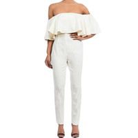 Rompers Womens Playsuit Jumpsuit Sexy Bodycon Off-shoulder Backless Ruffles White Black Summer Jumpsuits Pants