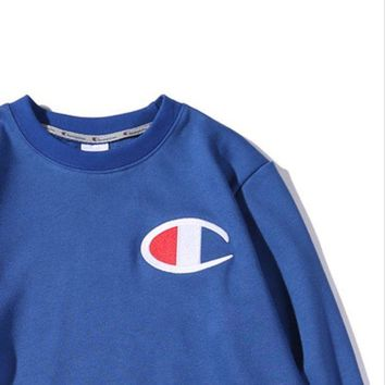Champion Chest Logo Big Embroidery With The Same Round Collar Hooded Sweater Blue