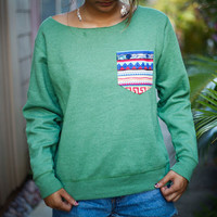 green tribal pocket sweatshirt