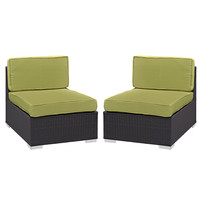 Gather Armless Chair Outdoor Patio Set of Two