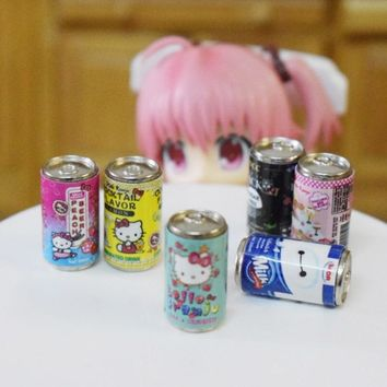 Cute Mini 1/6 Miniature Dollhouse Hello Kitty Beverage Drinks Model Pretend Play Doll Food for Blyth Pullip Doll Toy