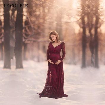 Le Couple Maternity Dresses Lace Maternity Photography Props Long Sleeve Pregnancy Dress Floor Length Maternity Clothes Mama