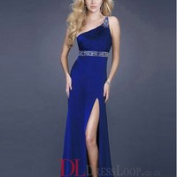 2014 New Styles A-Line One Shoulder Taffeta Royal Blue Long Prom Dress/Evening Gowns With Beading VTC773