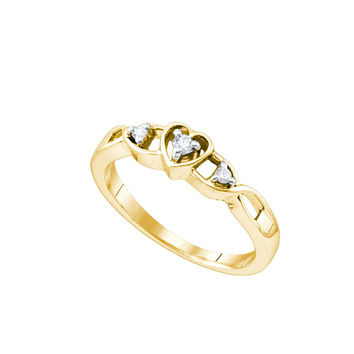 Yellow-tone Sterling Silver Womens Round Diamond Simple Heart Promise Bridal Ring 1/10 Cttw 62338