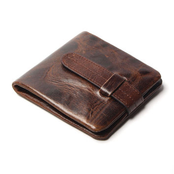 Vintage Genuine Cowhide Oil Wax Leather Wallet w/ Coin Pouch