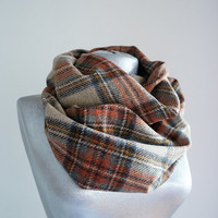 Handmade Plaid Infinity Scarf - Wool - Cinnamon Brown Mustard Beige - Winter Autumn Scarf - Men Unisex Scarf