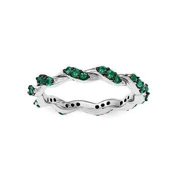 Sterling Silver Rhodium-plated Created Emerald Twisted Eternity Ring