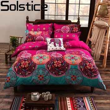 Solstice Bohemian Datura Flowers Style Bedding Sets 4pcs Duvet Cover Set Bed Linen Bed Sheet Pillowcases Twin/Queen/King Size