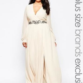 Little Mistress Plus | Little Mistress Plus Wrap Maxi Dress With Double Split at ASOS