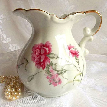 Vintage Pink Carnation and white milk pitcher gold trim ornate handle made in Japan Victorian Cottage Chic milk or water jug