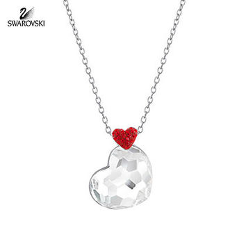 Swarovski Clear Crystal Heart Pendant LODGE Necklace Rhodium #5101215