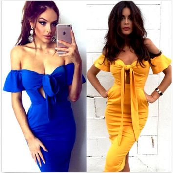 Women Fashion Casual Bow Short Sleeve strapless Tight Hollow Maxi Dress