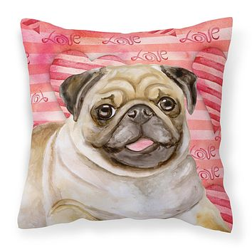 Fawn Pug Love Fabric Decorative Pillow BB9805PW1414