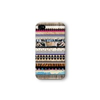 Iphone 4/4s Case, Tiger Aztec Geometric on Wood Pattern 3d-sublimated, Mobile Accessories.