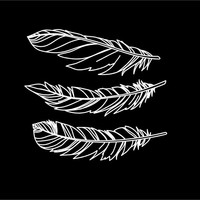 Feathers decals vinyl car auto vehicle decal custom stickers Set of 3 Boho Feathers