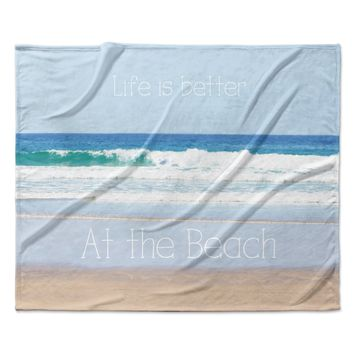 """Sylvia Coomes """"Life Is Better At The Beach"""" Tan Blue Fleece Throw Blanket"""