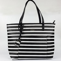 Hot Sale Kate Spade Women Black White Stripe Handbag