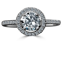 .75 CT. Round w/Halo settings Simulated Diamond - Diamond Veneer Sterling Silver Ring 635R207