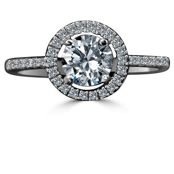0.75 CT. Intensely Radiant Diamond Veneer Round W/Halo Settings Sterling Silver Ring. 635R207