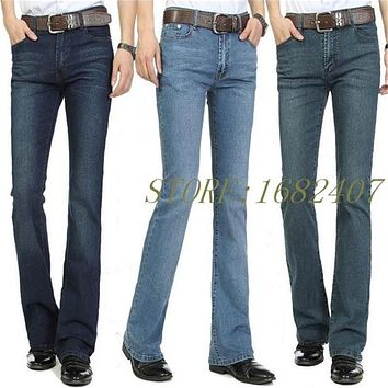 Men's Business Casual Jeans Male Mid Waist Elastic Slim Boot Cut Semi-flared Four Seasons Bell Bottom Jeans 26-38