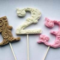 "3"" fancy filigree number 3 hard candy lollipops As seen in Brides Magazine July 2012"