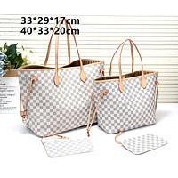 LV tide brand female classic chessboard old flower large capacity shopping bag shoulder bag two-piece White check