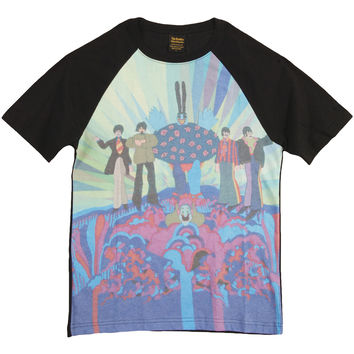 Beatles Men's  Yellow Sub Meanies & Band Sublimation T-shirt Multi Rockabilia