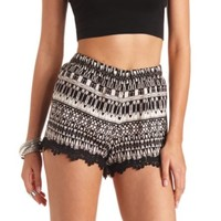 CROCHET-TRIMMED TRIBAL PRINTED SHORTS