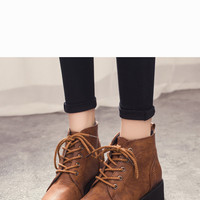 Vintage Lace-up Round Toe Ankle Boots In Brown