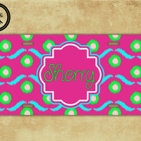 Monogrammed ikat license plate - Hot pink and lime green ikat - personalized ikat car tag name car tag (1036)