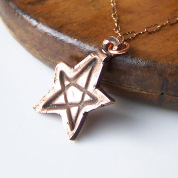 Etsy, Etsy Jewelry, Copper Clay, Copper Metal Clay, PMC Copper, Copper, Star Pendant Copper Metal Clay Necklace