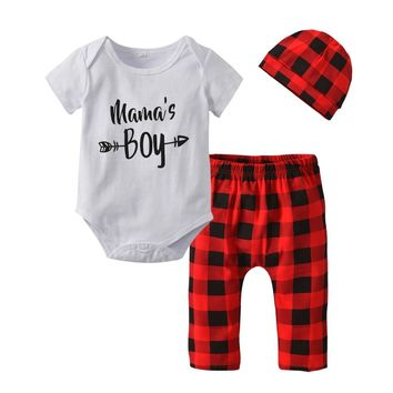 Summer style Mama'Boy Print Newborn Baby Boy Clothes Short Sleeve Romper Tops+Red Plaid Pants+Cap Infant Toddler Clothing Set
