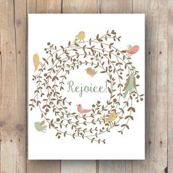 Printable Art, Bird Art Print, Rejoice, Scripture Quote, Inspirational Art, Nursery Printable, Instant Download
