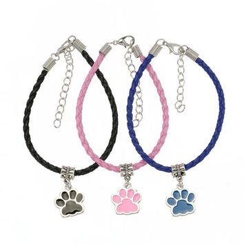 Dogs Paw Footprint Leather Bracelets (10 pieces)