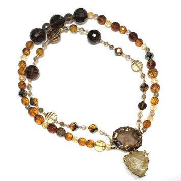 Rutilated Quartz & Citrine Bead Necklace