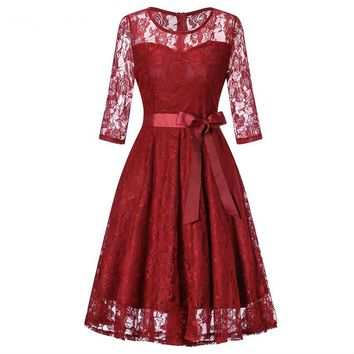 Middle sleeve O-Neck short wine red lace Bow Bridesmaid Dresses wedding party dress prom gown women's fashion