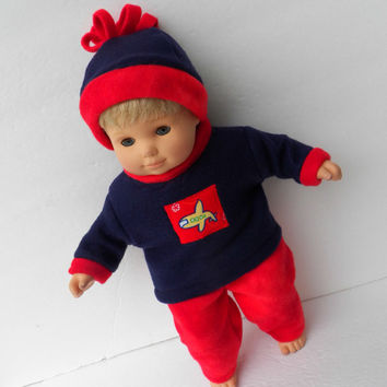 """Bitty Baby Clothes Twin American Girl 15"""" Doll Boy Pants Red Polar Fleece Sweatpants Navy Airplane Appliqued Sweatshirt Hat Cap 3pc outfit"""