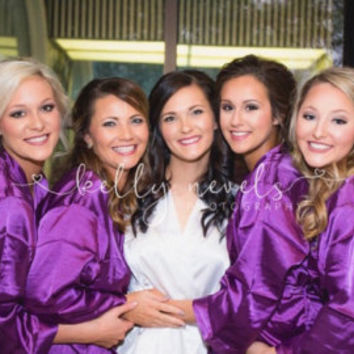 SATIN Bridal Robes Silk Bridesmaid Robe Gift Shower Personalized sets of 10, 11, 12 purple~ Fuchsia ~ Dusty Pink Navy ~ Purple coral ivory