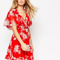 ASOS Kimono Flippy Dress in Red Floral Print
