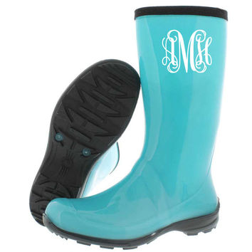 Rain boot monogram decal Boot decal Rain Vine monogram decal Rain boot sticker Rain boot initials Rain boot decal Initials monogram decal