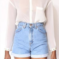 ALL SIZES Rolled Up LEVI'S Vintage High Waisted Shorts from AudellaBoutique