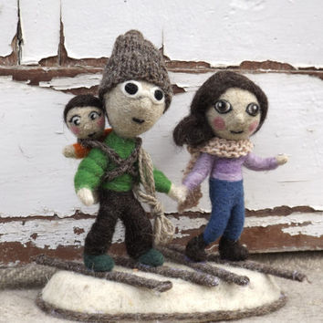 Wedding Cake Topper MADE TO ORDER needlefelted figurine, Custom Order miniature wedding