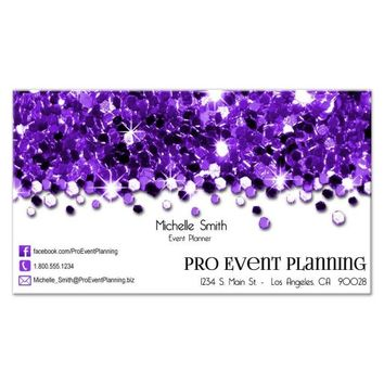 Purple Sparkling Confetti Professional Business Cards