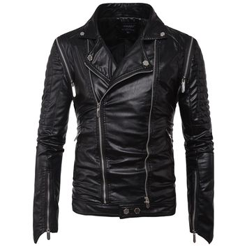 PU Autumn Winter Casual Zipper   Leather Jacket Motorcycle Leather  Men Slim Fit Mens Jackets And Coats Jacket